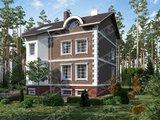 Проект трёхэтажного кирпичного дома с беседкой