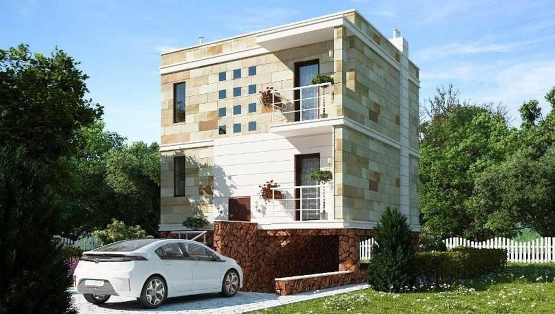 Проект небольшого современного двухэтажного коттеджа с цокольным этажом