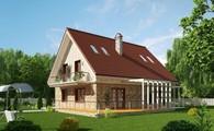 Проект загородного 1,5-этажного дома с просторной террасой