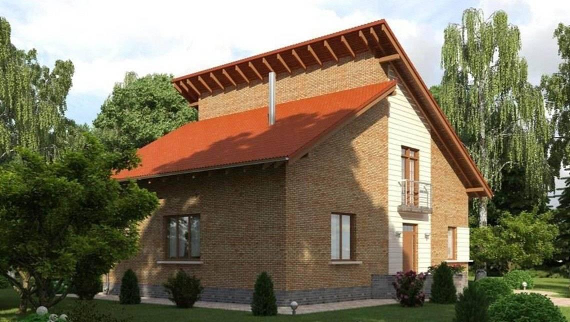 Загородный коттедж с мансардой классического стиля с оригинальным дизайном