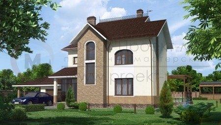Проект двухэтажного коттеджа с бильярдной в мансарде