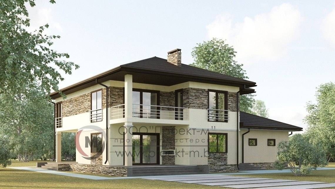 Классический двухэтажный дом с просторной террасой