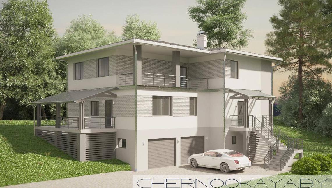 Проект стильного просторного 3-х этажного коттеджа с гаражом