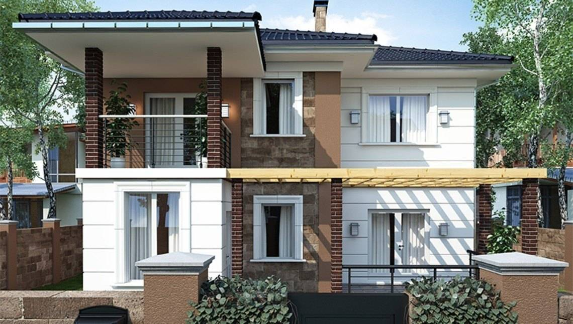 Красивый проект коттеджа с террасой и балконом площадью 200 m²