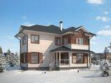 Красивый проект простого дома в классическом стиле с гаражом для 1 авто