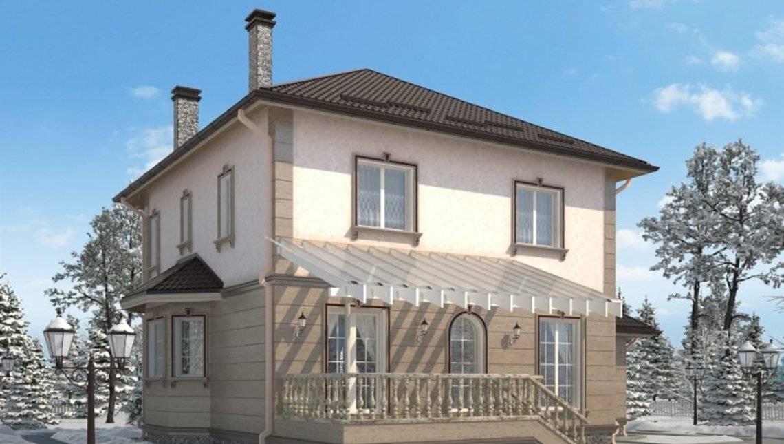 Красивый проект классического коттеджа 220 m² с гаражом и террасой