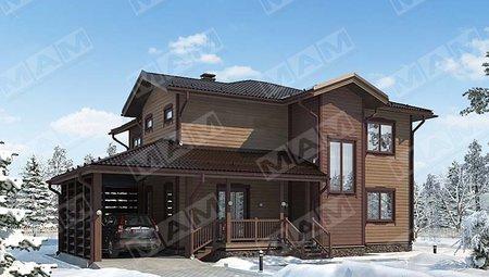 Красивый проект дома 270 m² с деревянным фасадом