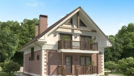 Красивый проект мансардного классического дома
