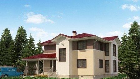 Красивый проект жилого дома с террасой и навесом для автомобиля
