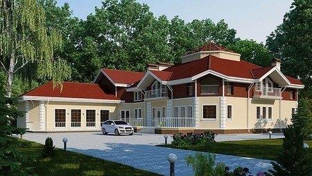 Проект огромного шикарного загородного особняка с цокольным этажом