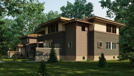 Красивый проект жилого загородного дома с бассейном внутри