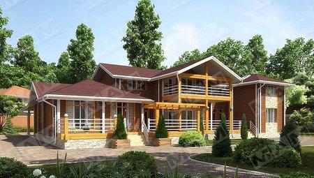 Красивый проект 2х этажного загородного жилого дома с деревянным фасадом