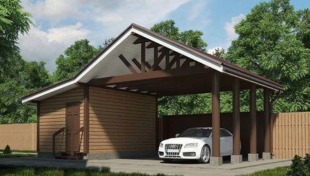 Проект хоз.помещения с навесом для двух авто