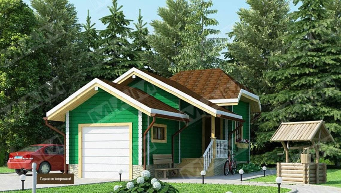 Архитектурный проект гаража с маленькой сторожкой