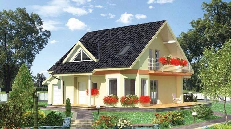 Небольшой загородный домик с двухскатной кровлей