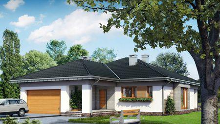 Одноэтажный дом с гаражом на 2е машины