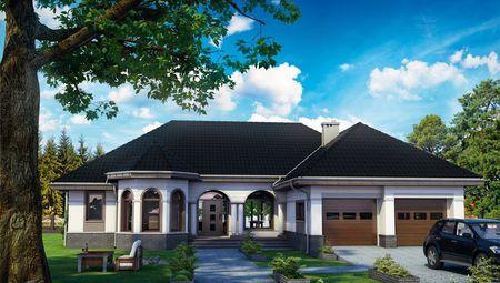 Проект красивого одноэтажного дома с интересным фасадом