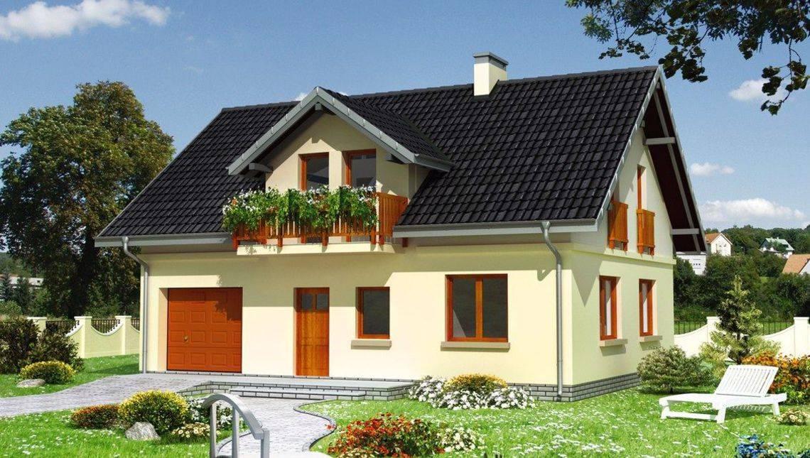 Архитектурный проект коттеджа 180 m² с мансардой и гаражом на 1 машину