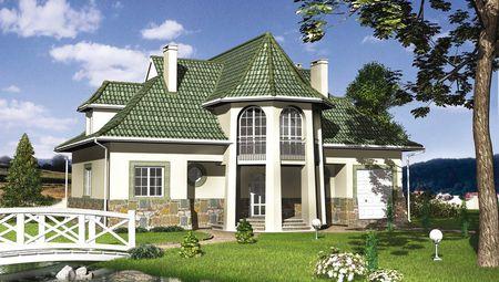 Симпатичный дом с крыльцом в виде башни