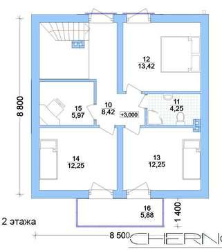 Архитектурный проект загородного коттеджа 130 m²