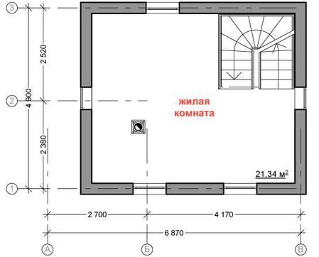 Проект небольшого гостевого дома с баней и жилой комнатой на втором этаже