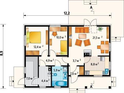 Проект современного загородного дома с тремя спальнями