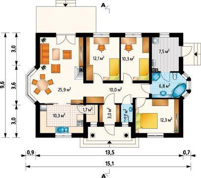 Симпатичный проект одноэтажного домика с эркером