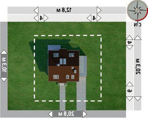 Симпатичный проект мансардного дома в традиционном стиле с пристроенным гаражом на 1 авто
